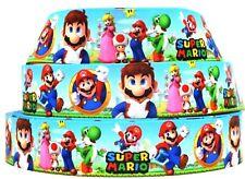 "Grosgrain Ribbon 7/8"" & 1.5"" Super Mario Bros Video Game Cartoon Printed."