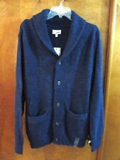 "Men's ""Sonoma"" Size L, Stitch Blue Chunky Shawl Collar 5 Button Cardigan Sweater"