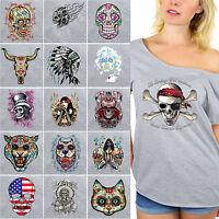 NEW SUGAR SKULLS Dia De Los Muertos Off Shoulder Top T-shirt Day Of Dead GRAY