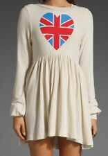Wildfox The British Babe Long Sleeve Babydoll Dress M USA Made Stretch Nwt