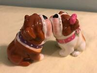 Cute Kissing Magnetic English Bulldog Salt and Pepper Shakers EUC