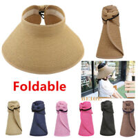 For Women Summer Straw Hat Visor Fold able Roll Up Wide Brim Open Top Sun Cap