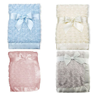 Unique Baby Girl Boy White Pink Cream Soft Deluxe Swirl Blanket Satin Edge