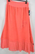 SARAH SANTOS 100% flax  LINEN  applique skirt in coral size L/XL