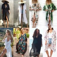 Women Summer Boho Loose Blouse Chiffon Coat Shawl Cover Up Kimono Cardigan Tops