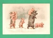 EARLY VINTAGE NEW YEAR? POSTCARD PIGS WALKING IN SNOW STORM