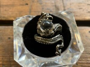 VINTAGE UMA STERLING SILVER DRAGON SERPENT RING W QUARTZ CRYSTAL STONE SIZE 5.5