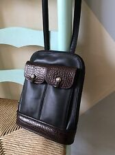 Womens Handbags And Purses/Brighton Petite Brown & Black Leather Shoulder Bag