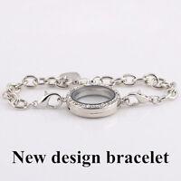 New Silver Magnetic Crystal Living Memory Locket Bracelet For Floating Charms