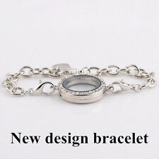 New Silver Magnetic Crystal Living Memory Locket Bracelet For Floating Charms