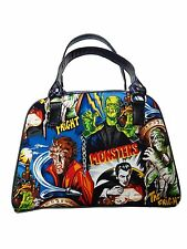 "USA HANDMADE BOWLER BAG WITH ""MONSTERS "" PATTERN, WITH RED SHINY FABRIC, NEW"