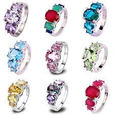 Rainbow & Green & Blue & Pink Topaz Gemstone Silver Ring Sz 6 7 8 9 10 11 12 13