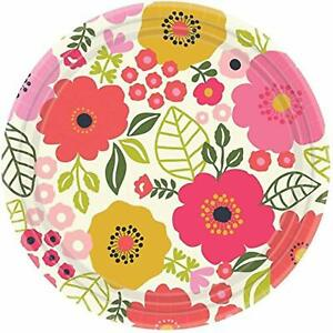 """Coral Floral Pink Spring Flower Garden Theme Party 10.5"""" Paper Banquet Plates"""