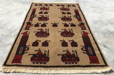 New listing Hand Knotted Afghan War Tank A K 47 Balouch Wall Hanging Wool Area Rug 5 x 3 Ft