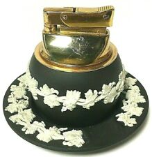 Vintage Wedgwood Black Jasper Tabletop Lighter W/ Ashtray White Grapevine Relief