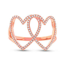 Hearts Diamond Statement Right Hand Ring Womens 0.21Ct 14K Rose Gold 2 Double