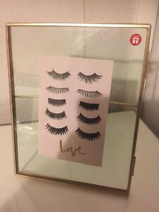 Luxe Edit Gold Trim Eyelash Photo Frame New Gift Contemporary Make Up Quirky