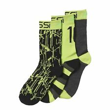 adidas 3 Pack Boys Messi Sport Socks Football Training Fashion Casual Grey Green