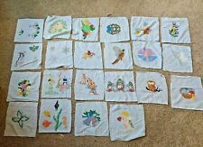 Set of 22 Handmade Vtg Quilt Squares Hand Painted Colored