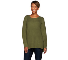 Lisa Rinna Collection Mixed Stitch Sweater With Side Slits Size XS Sage Color