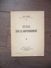 ECONOMIE POLITIQUE HENRI MARRE ESSAI SUR LE GOUVERNEMENT 1940