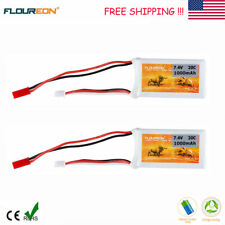 2X 7.4V 1000mAh 2S 20C Lipo Battery Pack JST Plug for RC Car Truck Truggy Hobby