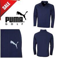 Puma Golf Mens Core 1/4 Zip Cresting Long Sleeve Fleece Popover New Navy