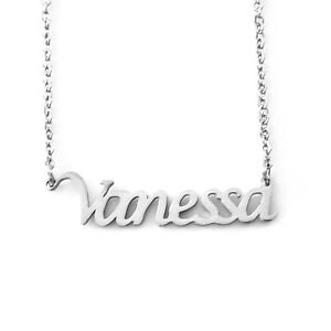 VANESSA Silver Tone Name Necklace | Birthday Stylish Designer Fashion Gifts