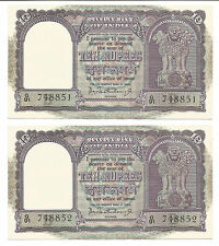 Rs 10,  UNC Notes in sequence, 2 pieces, Inset B, Prefix G, Sri P C Bhattacharya
