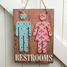 Large Wooden Restroom Toilet Sign - Male and Female - Shop Door Retail