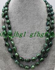 "New 7-8MM Green Akoya Cultured Irregular Pearl Baroque Necklace 100""AA"