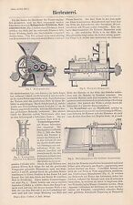 BIERBRAUEREI Sudhaus Bier Brauen STICHE + Text von 1897 Bierbrauer Malzquetsche
