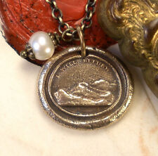 I Will Return ~ Hope & Renewal ~ Sunset Bronze Charm Necklace ~ Wax Seal Jewelry
