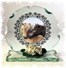 More details for horses collectible crystal cut glass plaque  ltd edition