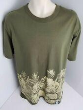 Farmers Market Hawaii Tiki Pineapple Design Men's Olive Color T-Shirt Size L