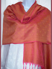 Banaras Silk Pink Golden Woven Floral Paisley Design Shawl, Wrap, Stole Fringes