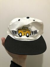 Vintage 90s New York Taxi Embroidered Snapback Hat Cap NYC Broadway Big Apple