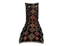 Moroccan Berber vintage runner rug 3x10 Boucherouite, tribal rugs Berber teppich