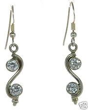 Cz Swirl Design Drop Earrings ' Solid 925 Sterling Silver Bezel Set Clear