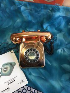 REKA Retro Corded Home Phone  in a Gold Colour