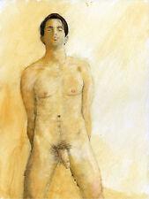 Painting NUDE male William IV watercolor 1/19/50 #ArtofEsteban FREE SHIP