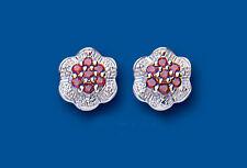 Unique Wishlist Plata De Ley Con Rubíes Y Diamantes De Rosca Flores BP0152