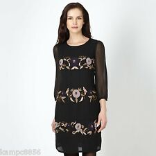 New Rocha John Rocha Black Applique Flower Beaded Stripe Dress Sz UK 8 rrp £65