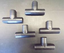 """PLASTIC BARBED POLYETHYLENE PIPE TEE INSERT FITTING 1 1/2"""" LOT OF (5) BOAT"""