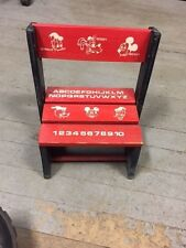 Vtg ,WOODEN , DISNEY- Mickey Mouse, Goofy, & Donald Step Stool ,CHAIR ABC'S- T37
