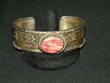 New ListingVintage Signed Navajo Sterling Silver & Spiny Oyester Bracelet - 40 Gram