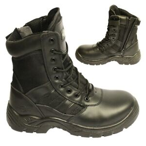 Black Leather Combat Safety Work Boot with Side Zip Police Security Military