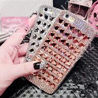 Hot Handmade Luxury Bling Grid Rhinestone Diamond Crystal Hard Phone Case Cover