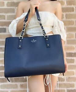 Kate Spade Andee Cobble Hill Large Tote Satchel Pebble Leather Nightcap Blue