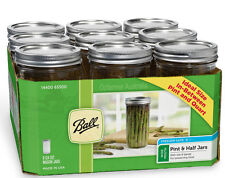 9 x Pint and a Half (750ml) Ball Mason Wide Mouth Jars and Lids BPA FREE